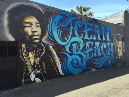 Some of Ocean Beach's finest graffiti art.