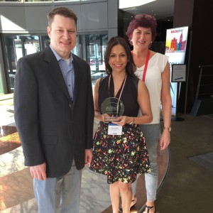 AIReS Director, Global Supply Chain, Brad Stevenson poses with Synergy Director of Global Solutions Denise D'Mello and Managing Director, EMEA Solutions Center, Suzanne Smith after Synergy was awarded the Circle of Excellence Award at the AIReS Partner Summit as part of the European Relocation Association's 2016 conference in Malta.