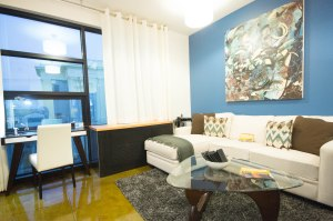 Sample living space in one of Synergy Global Housing's San Diego properties.